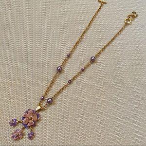 Jewelry - Purple, Pink Enamel Flower & Bead Necklace